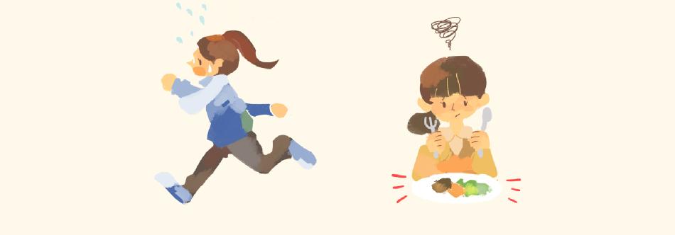 イラスト:ランニング、食事をする女性