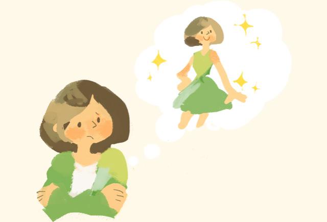 イラスト:体型に悩む女性