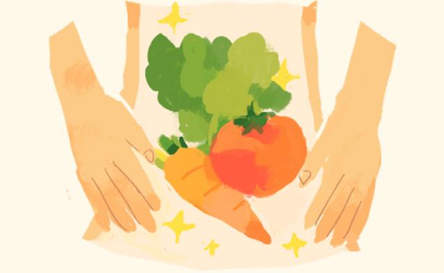 イラスト:体内の野菜